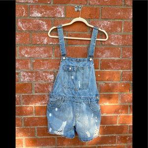 Zara translucent short distressed overalls